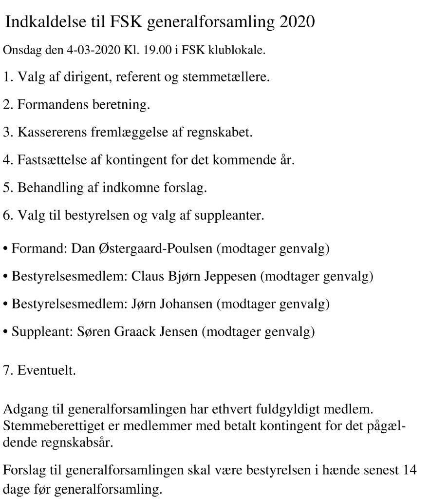 Indkaldelse til FSK generalforsamling 2020